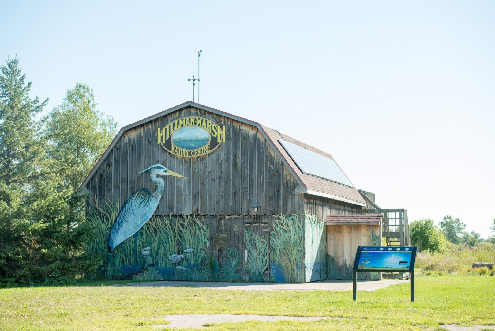 Hillman Marsh Nature Centre and mural.