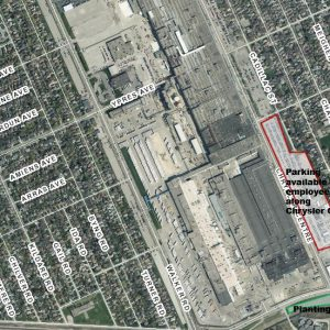 Satellite image, showing parking location of FCA Meadow.