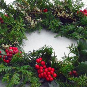 A christmas wreath on a table