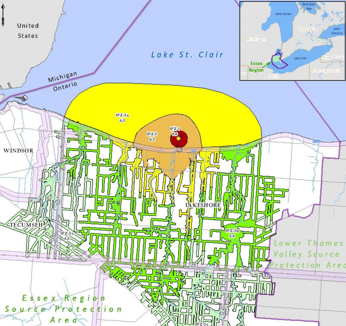 a flood map of Windsor, Ontario