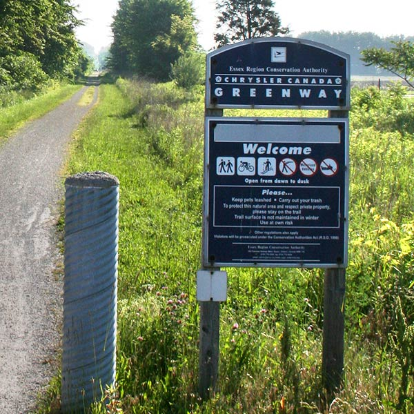 Chrysler-Canada-Greenway-trail-and-sign