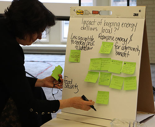 a meeting participant writing notes