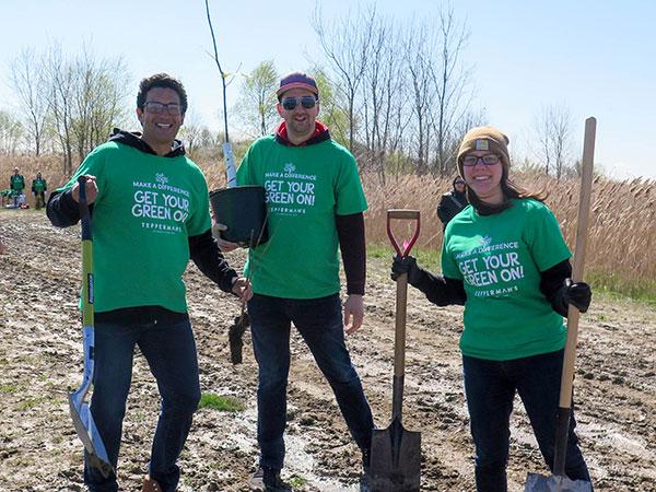 volunteers at a tree planting