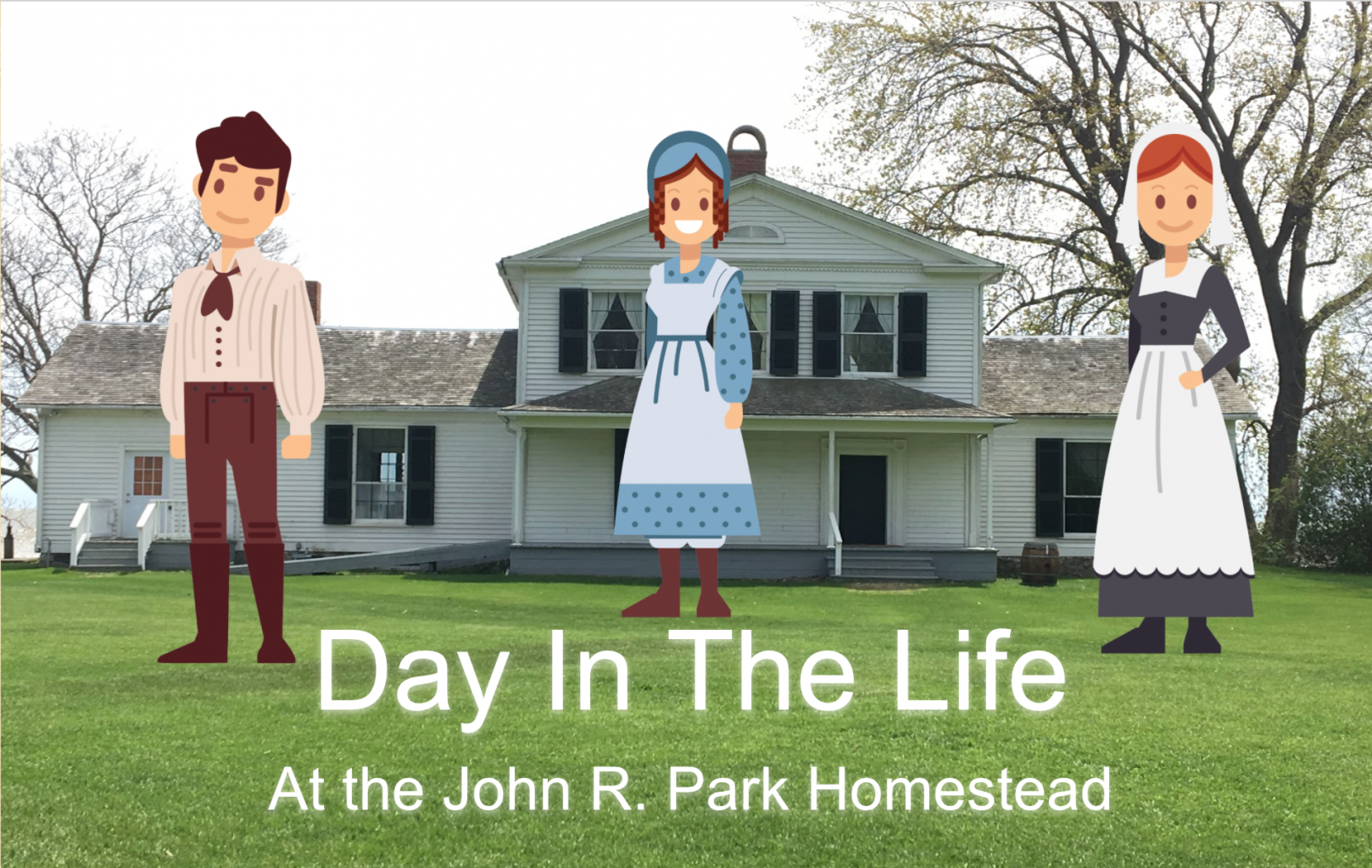 cartoon characters in front of the John R. Park Homestead
