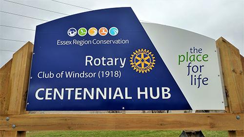 Rotary Centennial Hub sign