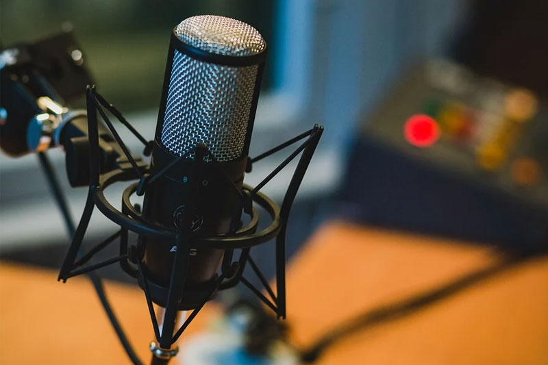 a radio studio microphone